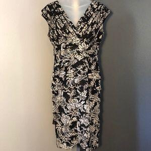 Adrianna Papell Shutter Pleat Floral Dress